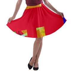 Red abstraction A-line Skater Skirt
