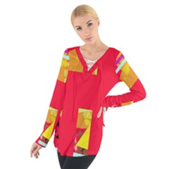 Red abstraction Women s Tie Up Tee