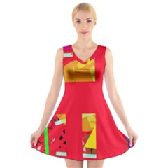 Red abstraction V-Neck Sleeveless Skater Dress