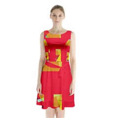 Red abstraction Sleeveless Waist Tie Dress