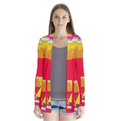 Red Abstraction Drape Collar Cardigan