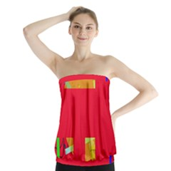 Red abstraction Strapless Top