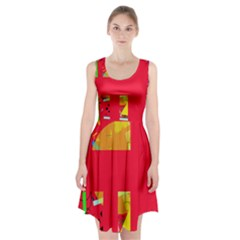 Red abstraction Racerback Midi Dress