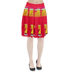 Red abstraction Pleated Skirt