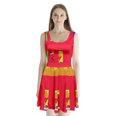 Red abstraction Split Back Mini Dress