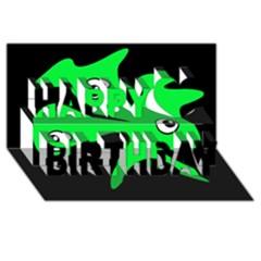 Green amoeba Happy Birthday 3D Greeting Card (8x4)