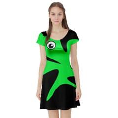 Green amoeba Short Sleeve Skater Dress