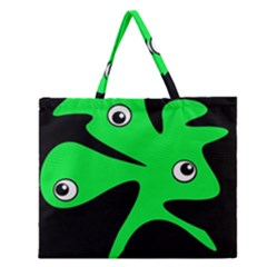 Green amoeba Zipper Large Tote Bag