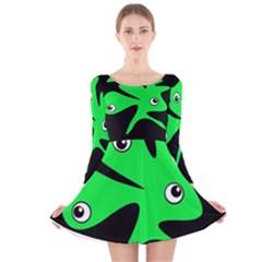 Green amoeba Long Sleeve Velvet Skater Dress