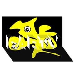 Yellow amoeba PARTY 3D Greeting Card (8x4)