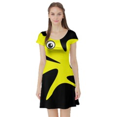 Yellow amoeba Short Sleeve Skater Dress