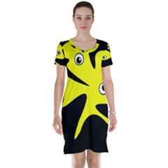 Yellow amoeba Short Sleeve Nightdress