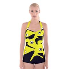 Yellow amoeba Boyleg Halter Swimsuit
