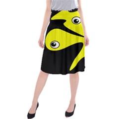 Yellow amoeba Midi Beach Skirt