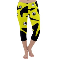 Yellow Amoeba Capri Yoga Leggings
