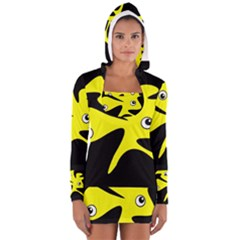 Yellow amoeba Women s Long Sleeve Hooded T-shirt