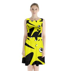 Yellow Amoeba Sleeveless Waist Tie Dress