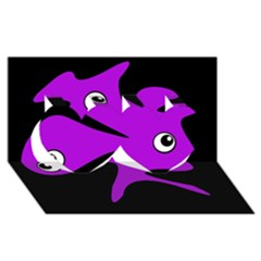 Purple amoeba Twin Hearts 3D Greeting Card (8x4)