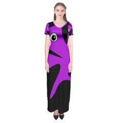 Purple amoeba Short Sleeve Maxi Dress