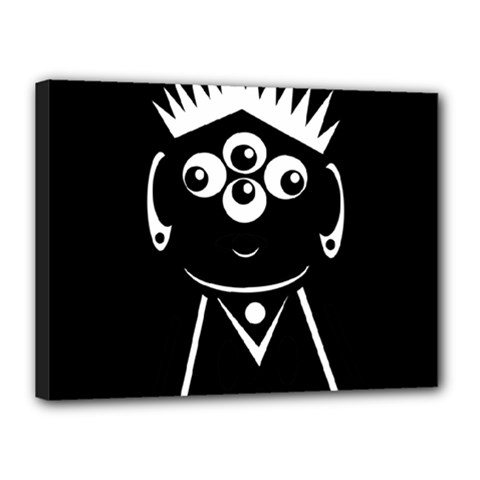 Black and white voodoo man Canvas 16  x 12