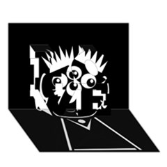 Black and white voodoo man LOVE 3D Greeting Card (7x5)