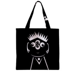 Black and white voodoo man Zipper Grocery Tote Bag