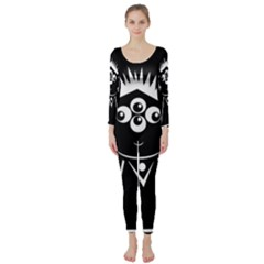 Black and white voodoo man Long Sleeve Catsuit