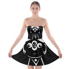 Black and white voodoo man Strapless Dresses
