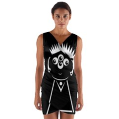 Black and white voodoo man Wrap Front Bodycon Dress