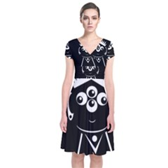 Black and white voodoo man Short Sleeve Front Wrap Dress