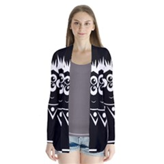Black and white voodoo man Drape Collar Cardigan