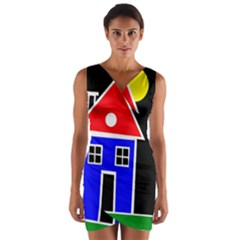 Kids drawing Wrap Front Bodycon Dress
