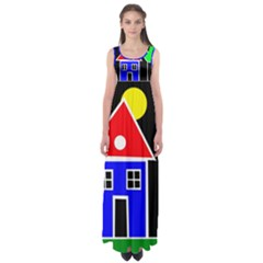 Kids drawing Empire Waist Maxi Dress