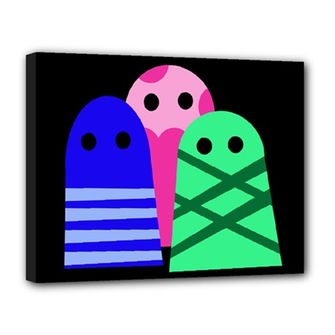 Three monsters Canvas 14  x 11