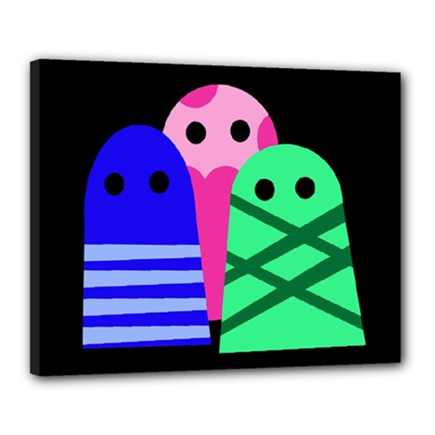 Three monsters Canvas 20  x 16