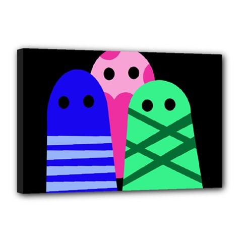 Three monsters Canvas 18  x 12