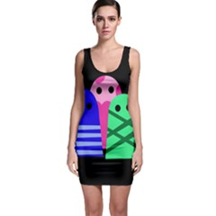 Three monsters Sleeveless Bodycon Dress
