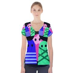 Three Monsters Short Sleeve Front Detail Top