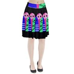 Three monsters Pleated Skirt