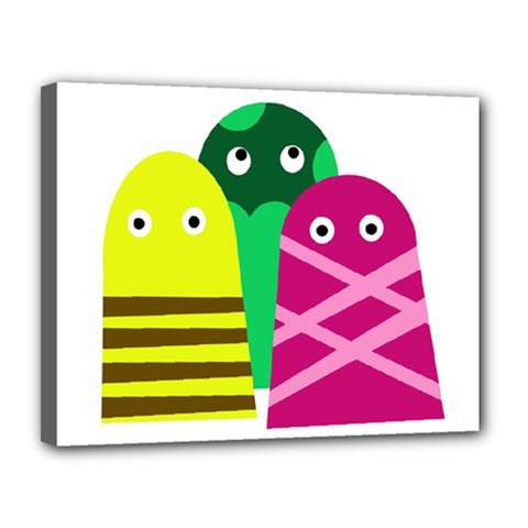 Three mosters Canvas 14  x 11