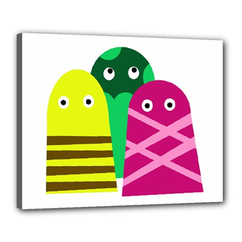 Three mosters Canvas 20  x 16
