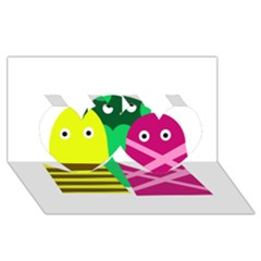 Three mosters Twin Hearts 3D Greeting Card (8x4)