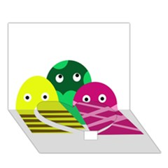 Three mosters Heart Bottom 3D Greeting Card (7x5)