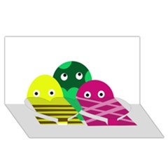 Three mosters Twin Heart Bottom 3D Greeting Card (8x4)