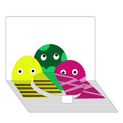Three mosters Circle Bottom 3D Greeting Card (7x5)