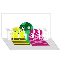 Three mosters BEST SIS 3D Greeting Card (8x4)