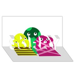Three mosters SORRY 3D Greeting Card (8x4)