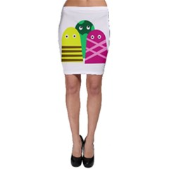 Three mosters Bodycon Skirt
