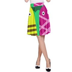 Three mosters A-Line Skirt