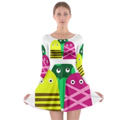 Three mosters Long Sleeve Skater Dress